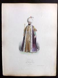 Pauquet 1868 Hand Col Costume Print. Selim II Ottoman Sultan in 1573. Turkey